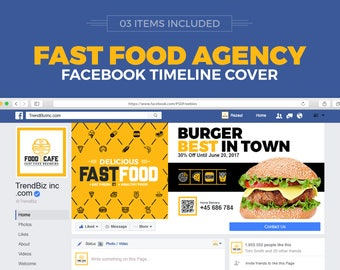 Social Media Cover Package for Fast Food and Restaurant | Facebook Cover, Twitter Cover and Youtube Channel Art | Instant Download