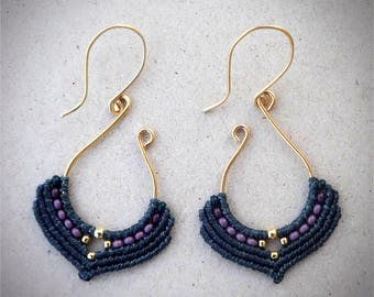 macrame earrings, silver 24K gold plated beads, 24K gold plated wire, handcrafted earrings, glass seed beads, anthracite color