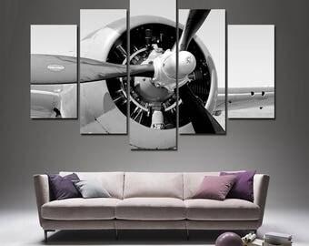Aircraft Print Plane Engine Airplane Decor Engine Canvas Aircraft Decor Jet Print  Aviation Wall Decor Plane Propeller Airplane  Room Decor