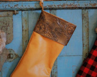 Leather Christmas Stocking with Tooling and Name or Initials-Holiday Decor-Holiday Gifts-Christmas Gifts-Hostess Gifts-Christmas Decor