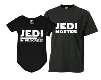 Jedi Master Shirt Jedi in Progress shirt Dad and Son Outfits Dad and Kid shirts Matching Tees Matching Outfits