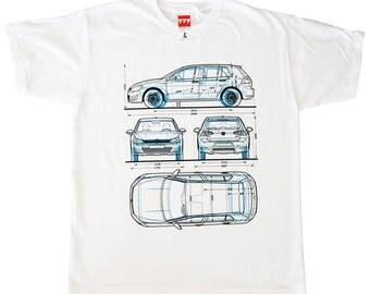 Volkswagen Golf 1 & 7 generation tshirt german style motorsport hatchback