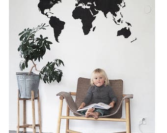 World map wooden black