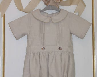 Linen Baby Boy Bubble. 4 to 6 Months.
