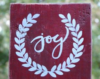hand painted JOY on wood