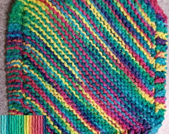 Handmade Knitted Dishcloth - Psychedelic