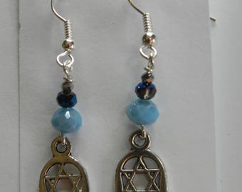 Hamsa and Star of David Earrings - Blue with french hook