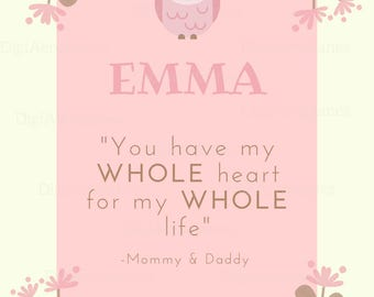 Baby Name Gift Room Print Meaning Quote Emma