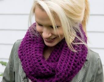 Purple, Handmade, Crocheted Circle Scarf