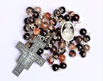 Brown/Black Jasper Bead Rosary with San Damiano Crucifix (#170703)