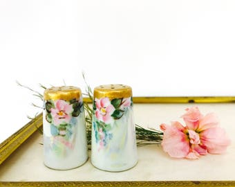 Vintage Hand Painted Porcelain Salt and Pepper Shakers | Art Nouveau Style | Gold Tops Pink Flowers with Iridescent Finish | Free Shipping