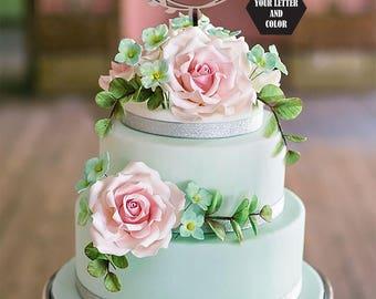 Wedding Cake Topper, Letter S cake topper, Gold Cake Topper, Monogram Cake Topper, Gold Glitter Toppers, Initials Cake Topper Single Letter