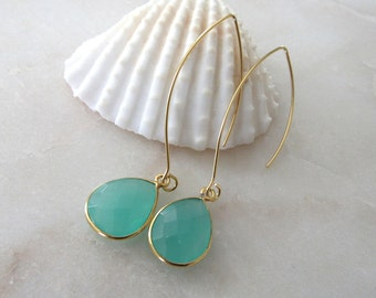 Aqua Quartz Crystal Drop Earrings Long Gold Earwire