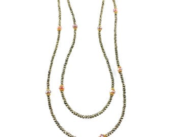 Pyrite Long Beaded Necklace w/ Pink Moonstone, Fall Wedding, Great Bridesmaid Gift, Perfect for Boho Bridal Jewelry, Boutique Style Jewelry