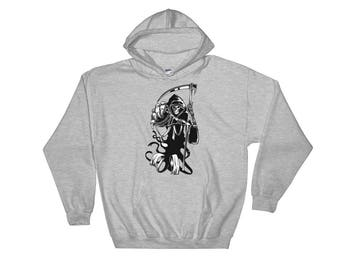 Grim Reaper Of Death Scary Halloween Reaper Unisex Hooded Sweatshirt