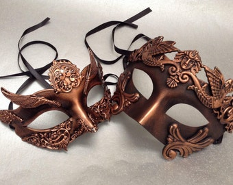 Copper Rose Gold Roman Masquerade Ball Mask Gladiator Thor Mask Pair Costume Party Wear