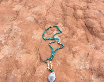 Mala-Jasper, Turquoise Magnesite and White Swarovsky Pearl-knotted