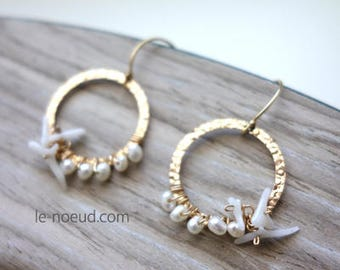 Freshwater pearl and white coral K14GF earrings