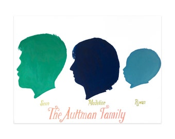 Painted Custom Silhouette Portrait of Family of 3, Painting, Art for Living Room or Bedroom, Personalized Gift, Original Artwork