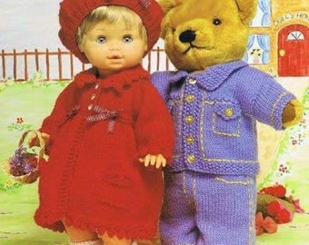 Doll and Teddy Bear Clothes, Knitted Patterns, Instant Download.