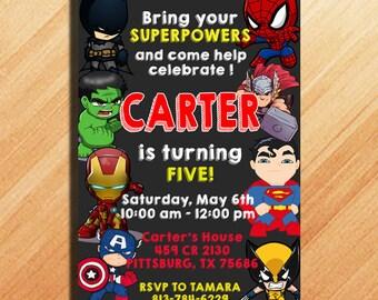 superhero party invites
