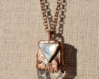 Copper and Quartz Crystal with Triangle Mother of Pearl Necklace