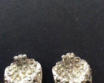 Silver Tone Marcasite Clip on Earrings [SKU152]