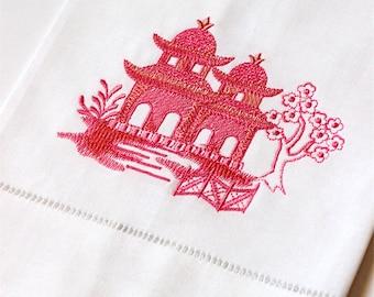 Embroidered Pagoda Linen Tea Towel