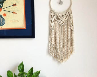 Macrame Wall Hanging Dreamcatcher with Wire Wrapped Clear Sea Glass Pendant, Medium Woven Wall Hanging, Boho Hippie Tapestry, Dream Catcher