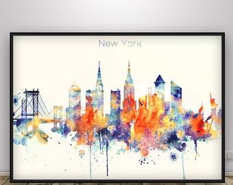 New York Skyline, New York Poster, NYC, New York print, Home Decor, New York Wall art, New York Watercolor city print, New York City