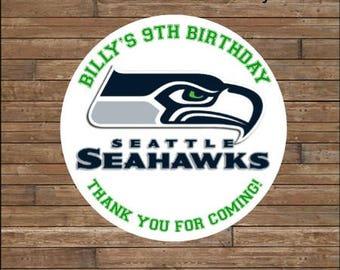 Personalized Football Stickers   Football Team Favor Tags    Football Birthday  Seattle Seahawks