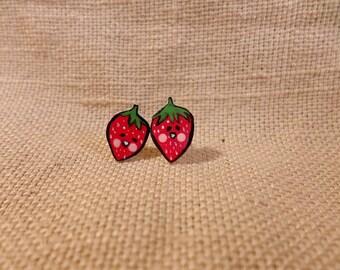 Tiny Strawberries, Tiny Studs, TIny Earrings, Red Earrings, kawaii strawberries, small earrings, strawberry earrings, fruit stud earrings