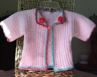 crocheted pink cardigan for 6-12 mos.