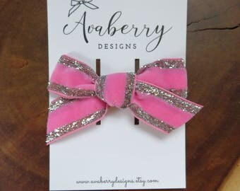 Pink Velvet with Silver Glitter Trim Bow