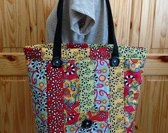 Country Curls Quilted Tote, Shoulder Bag, Handbag, Market Bag
