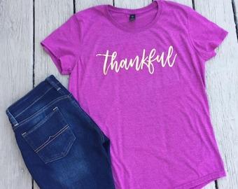 Pink & Gold Thankful Shirt