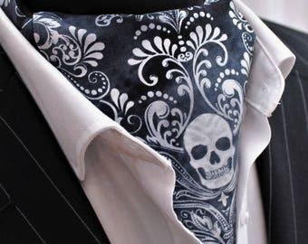 Cravat Ascot Steampunk Gothic/Punk Skull Cravat & Hanky.Premium Cotton. UK MADE