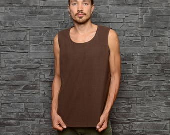 Men's tank top - brown woven cotton singlet