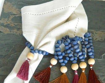 Farmhouse Beaded Napkin Rings,  Napkin Rings, Hand dyed Napkin Holder, Boho Bohemian, Housewarming, Table Decor, Home & Living, Rustic