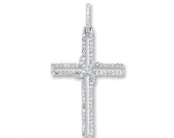 9ct White Gold 0.25ct Diamond H/Si Cross Pendant 25x12mm