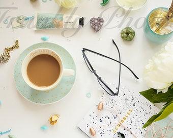Mint Green Desk & Lifestyle Stock Image / Styled Stock Photography / Stock Photo / Styled Desktop / Feminine Flatlay /Frankly Photos File #6