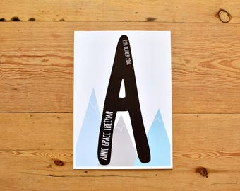 Scandi Nursery / Mountain Print / Personalised Nordic Print / Scandi Initial Print.