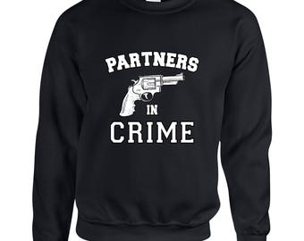 Partners in Crime Right Side Friendship  Adult Clothing Unisex Sweatshirt Printed Crew Neck Sweater for Women and Men
