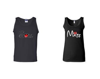 Valentine Gifts Soul Mate Mickey Minnie Mouse Hands Disney COUPLE Printed Adult Tank Tops Unisex Tops for Men Women Matching Clothes