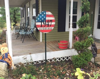 """Custom Address Sign! American Flag, vintage, barnwood style- 23.75"""" round, 1"""" thick, outdoor, heavy duty WICKED FOREST"""