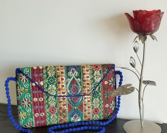 Blue envelope shape cross body purse/ clutch, Multicolour embroidered bag, Ethnic handmade bag