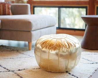 Moroccan Pouf, Gold Faux Leather Ottoman Handmade and Embroidered in Marrakech, round ottoman, gold pouf, ottoman chair