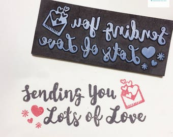 Hand Carved Sending You Lots of Love Rubber Stamp