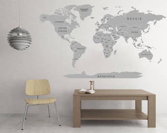 World map decal etsy vinyl printed olorful titles gray world map sticker detailed map decal print map with countries push gumiabroncs Image collections