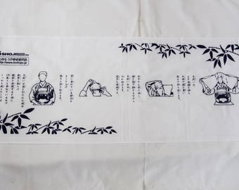 Washcloths TENUGUI The design explaining how are covered with a towel Japanese hand towels Cotton 100% White